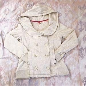 Roxy Double Breasted, Hooded Sweatshirt Jacket